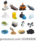 Ocean Pollution Isometric Icons 56989898