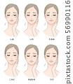 女性面部皮膚問題 56990116