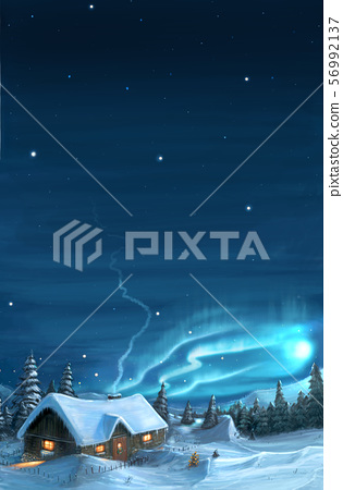 Romantic Digital Painting of Snowy Winter Christmas Landscape with Cottage. 56992137