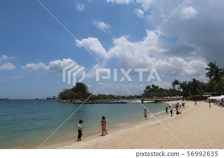 在聖淘沙海島,新加坡上的Siloso海灘 56992635