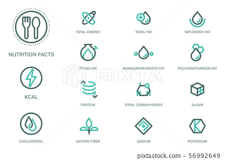 Nutrition facts in product and Food science & Research content icon style. 56992649