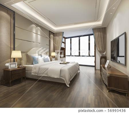 luxury modern bedroom suite in hotel 56993436