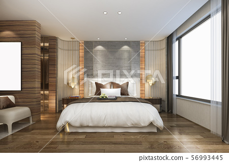 bedroom suite in hotel with mirror wardrobe 56993445