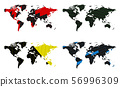 Vector set of world map with abstract patterns of 56996309