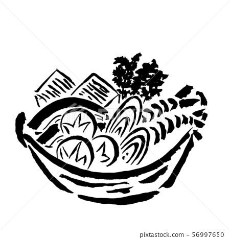 用刷子繪製的火鍋菜(墨水的手繪插圖) 56997650