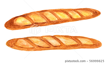 French bread (watercolor painting) 56999825