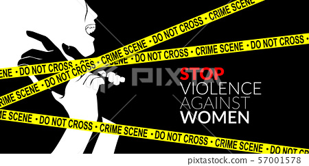 man are using force to coerce woman with yellow crime scene tape. stop domestic violence against women campaign. 57001578