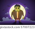 Halloween Frankenstein zombies at full moon night 57007223
