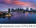 Brooklyn bridge at dusk, New York City 57014810