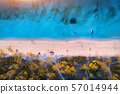 Aerial view of green trees on the sandy beach and blue sea at sunset 57014944