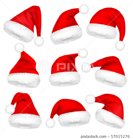 Christmas Santa Claus Hats With Fur Set. New Year Red Hat Isolated on White Background. Winter Cap 57015276