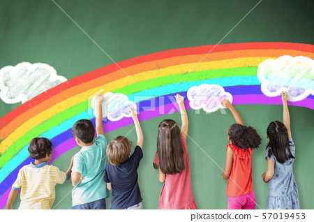 school children drawing rainbow and cloud on the 57019453