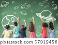 school children drawing space and star icon on the 57019456
