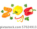 red yellow orange sweet bell pepper isolated on white background. Top view. Flat lay 57024913