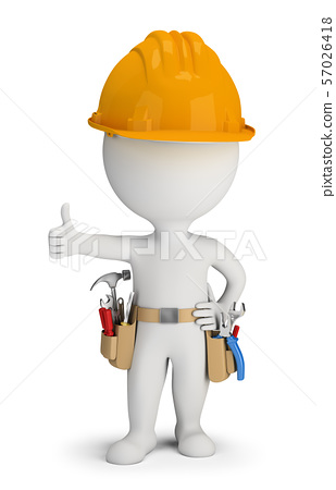 3d small people - repairman with tool belt 57026418