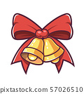 Christmas bells and red bow. Vector illustration. 57026510