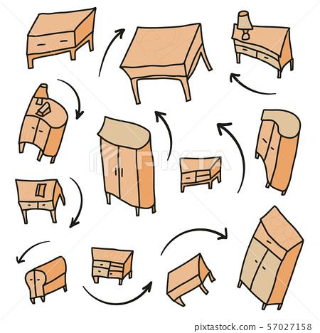 Furniture set disfiguredproportions doodle style 57027158