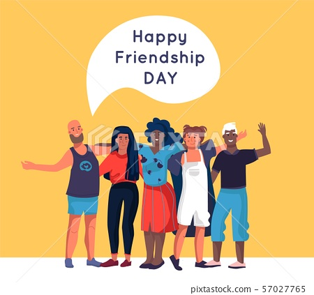 Friendship. Happy friends standing together and hugging, cartoon diverse people group. Vector family 57027765