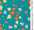 Seamless pattern autumn physalis flowers, leaves and fruits. Vector illustration 57027807