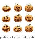Halloweens pumpkins set 57030004
