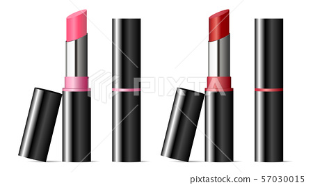 Trendy lipstick mockup set with black caps. Vector 57030015