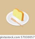 Sliced  butter cake with wooden fork on dish 57030057