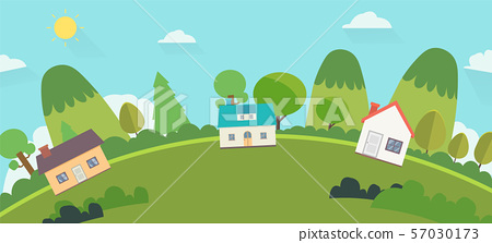 Beautiful nature landscape with houses and hills 57030173