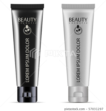 Cream or ointment cosmetic tube set with black and 57031297