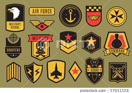 Military badges. Usa army patches. American soldier chevrons with wings and stars. Emblem vector set 57031558