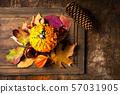 Autumn decoration arrangement top view 57031905