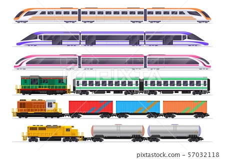 Trains set. Passenger and freight train with wagons. Vector railway transportation isolated on white 57032118