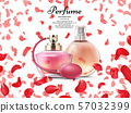Cosmetics perfume bottles with pink petals of rose background 57032399