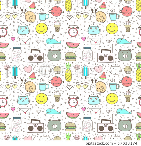 Doodle Cartoon Seamless Pattern Background For Kid. Vector illustration for fabric and gift wrap paper design. 57033174
