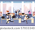 Angry boss. Chaos in office with employees in panic. Businessman in stress and deadline vector 57033340