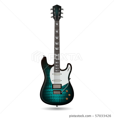 Electric playing jazz and rock guitar. Realistic vector illustration isolated on white background 57033426