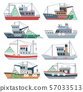 Fishing ocean boats. Commercial fisherman ships isolated vector set 57033513