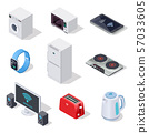 Internet things isometric icons. Household appliances. Wireless electronic devices vector 3d 57033605