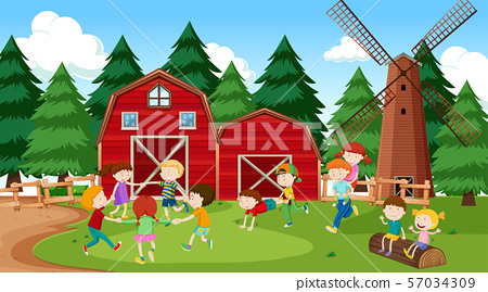 Active kids playing in outdoor scene 57034309