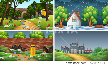 Set of polluted scenes 57034324