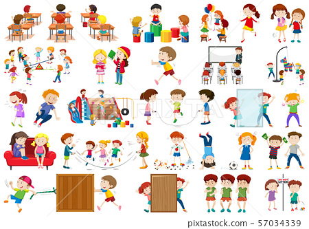 Boys, girls, children in educational fun activty 57034339