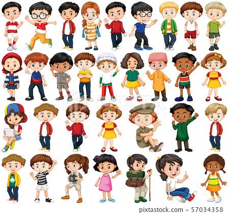 Set of happy children doing different actions 57034358