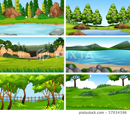 Set of scenes in nature setting 57034396