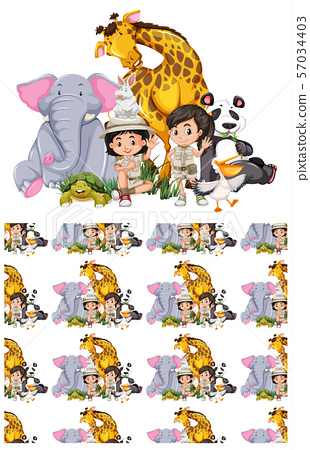 Seamless background design with kids and animals 57034403