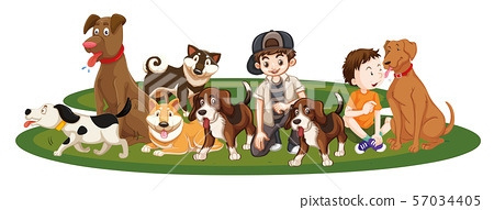 Children with animals on isolated background 57034405