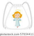 Fabric bag with cute angel graphic 57034411
