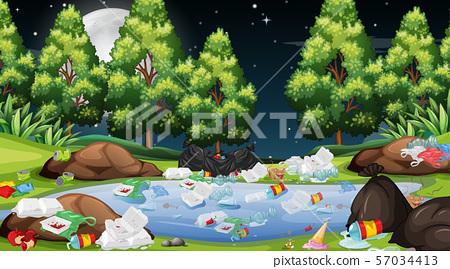 Rubbish in park scene 57034413