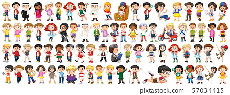 Children with different nationalities on white 57034415
