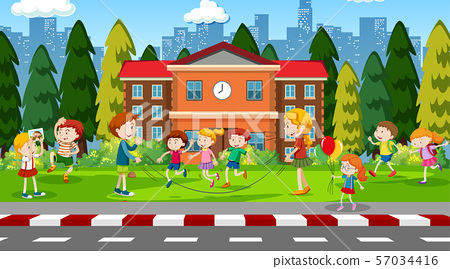 Active kids playing in outdoor scene 57034416