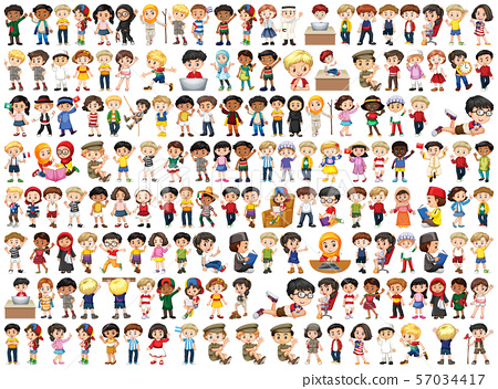 Children with different nationalities on white 57034417