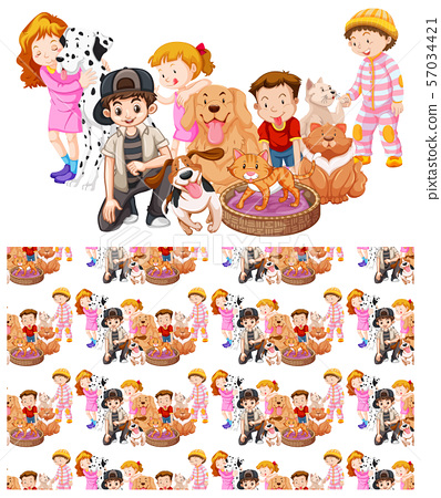 Seamless background design with kids and animals 57034421